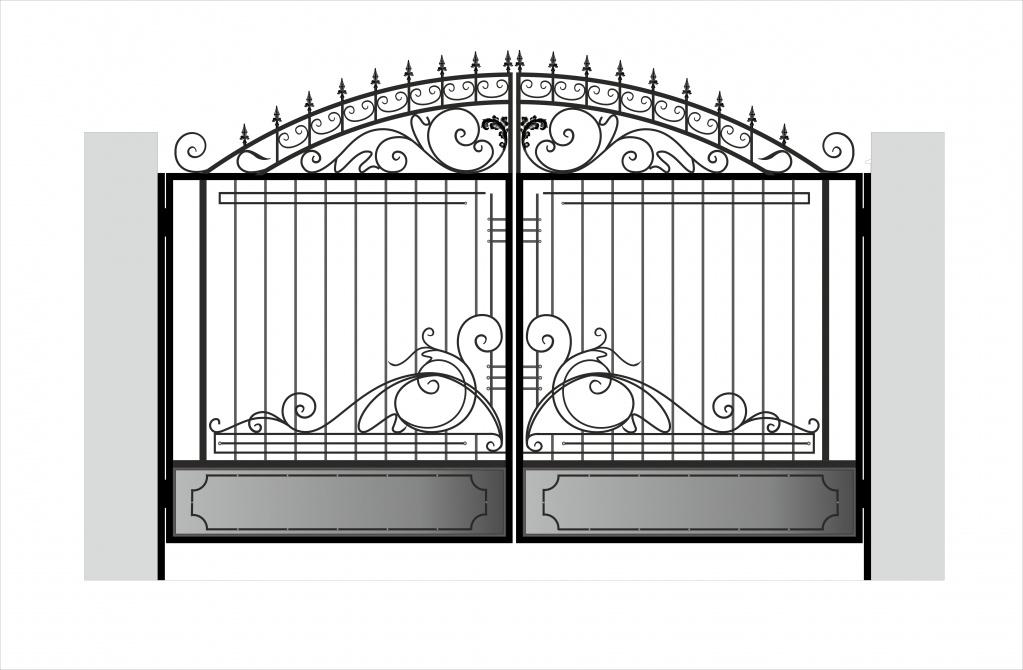 ворота из профнастила с элементами ковки эскизы